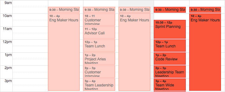 First time managers should consider using a Maker's schedule calendar to help them and their team.