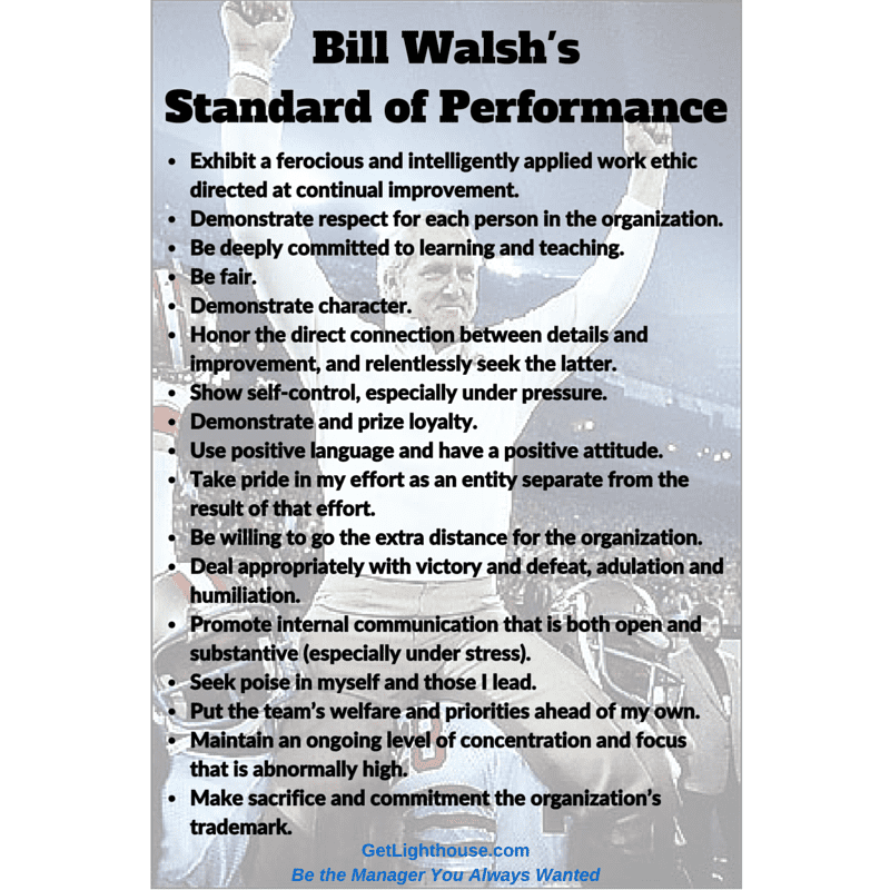 Bill Walsh Quotes Standard of Performance