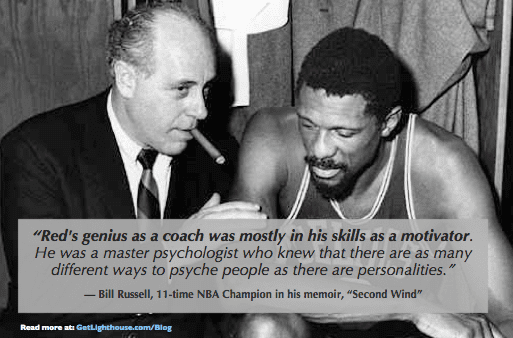 Red Auerbach secret to leadership is motivating each person differently as Bill Russell show