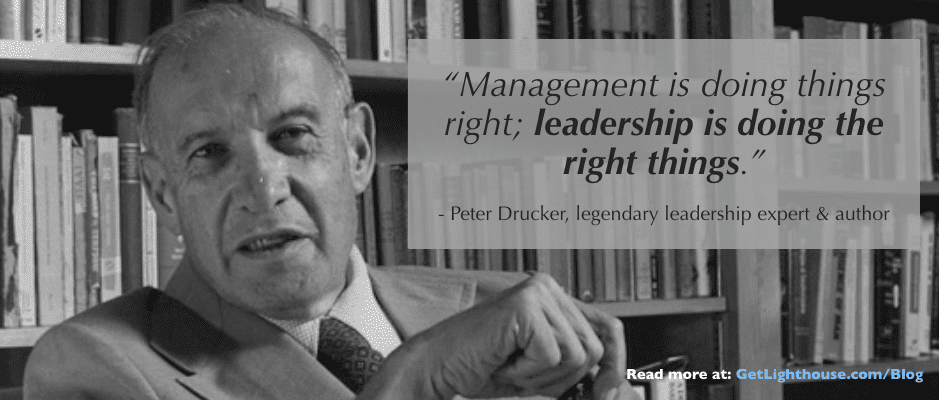 Drucker knows leadership is doing the right things and thats not real time feedback