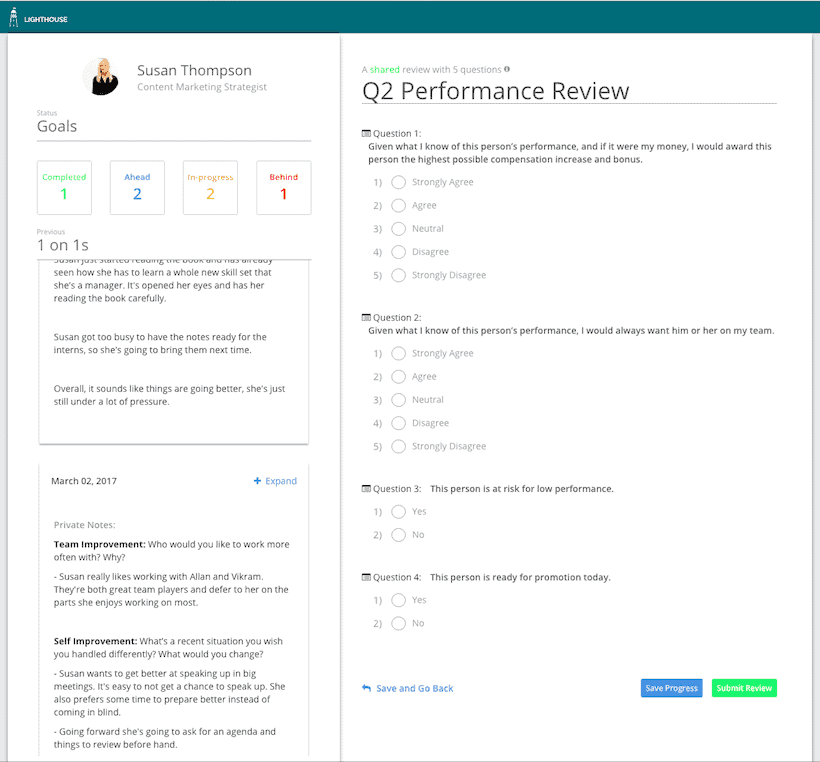employee performance evaluations in lighthouse are awesome for managers, too