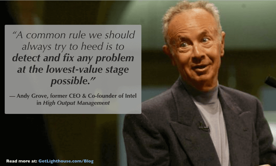questions to ask a CEO - andy grove knows to fix problems when they're small
