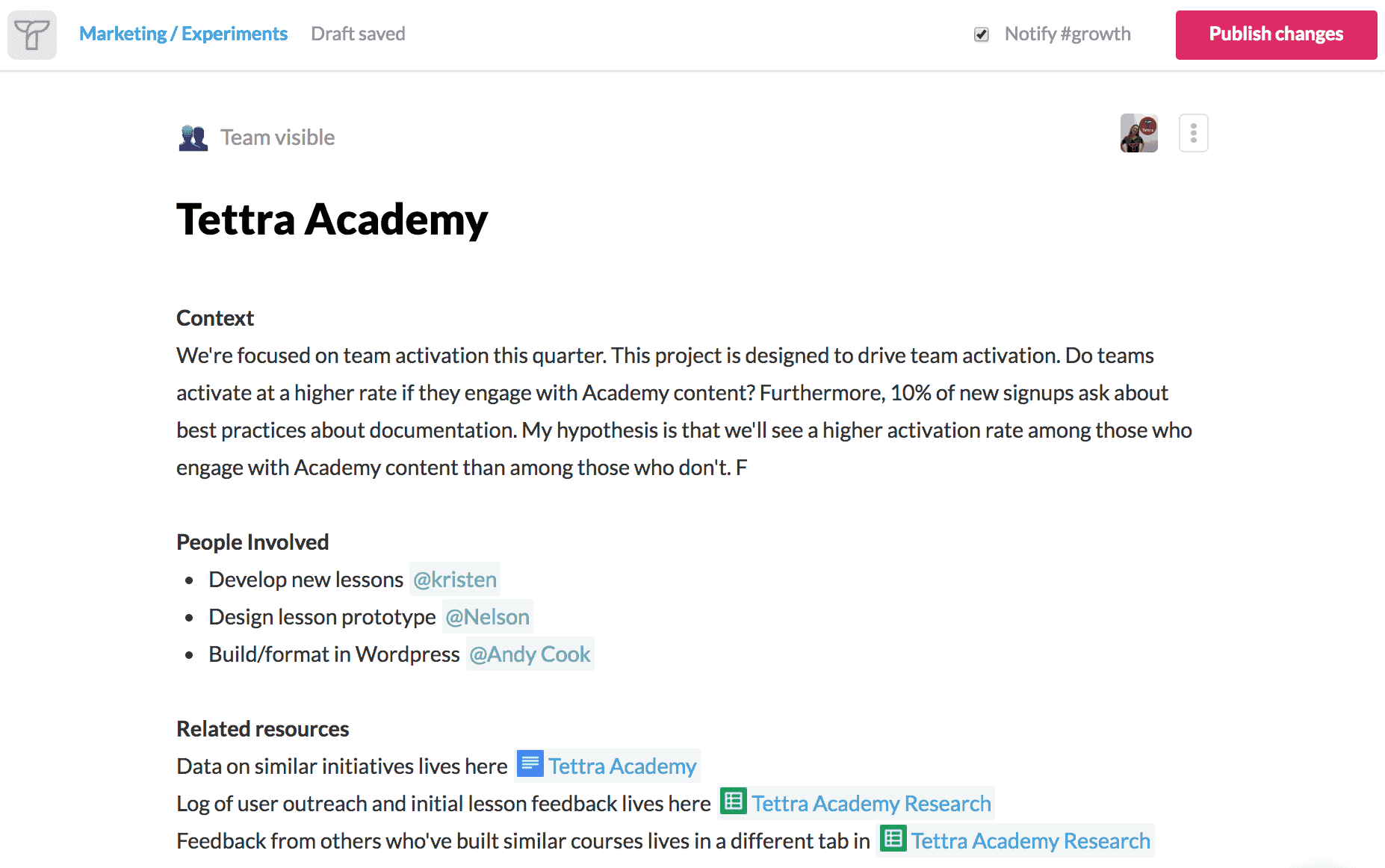 get buy in with tettra academy example