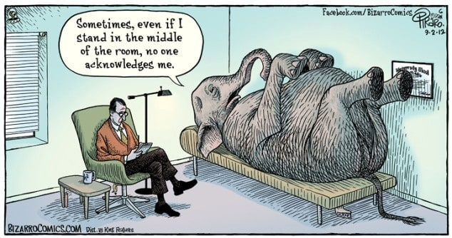 dealing with the elephant in the room is often a good way to deal with your biggest leadership challenges